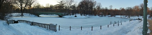 Panorama, Frozen Lullwater at Sunset, Prospect Park