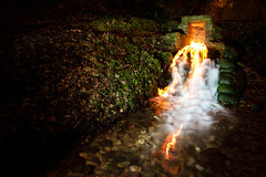 Elemental (Mill Stream & Fire), Loose Valley (flatworldsedge) Tags: longexposure mill water stone night fire kent bars stream village earth hell experiment tunnel falls rapids flame nettles loose elemental explored yahoo:yourpictures=elements yahoo:yourpictures=waterv2
