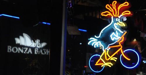 BONZA BASH, Neon Chicken on Bike, Free Range Cycles, New Years Eve, Fremont, Seattle, Washington, USA by Wonderlane