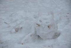 Snow Cat (thoth1618) Tags: park nyc newyorkcity winter snow ny newyork cat snowman centralpark manhattan central january gothamist 1111 snowcat 2011 nycpark