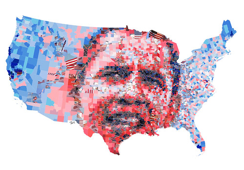 Barack Obama: The red, the blue and the United States of America.