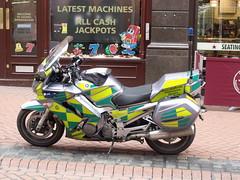 West Midlands Ambulance Service NHS Trust - New Street, Birmingham - Motorbike (ell brown) Tags: greatbritain england birmingham unitedkingdom motorbike motorcycle paramedic westmidlands agora newst newstbirmingham westmidlandsambulanceservicenhstrust