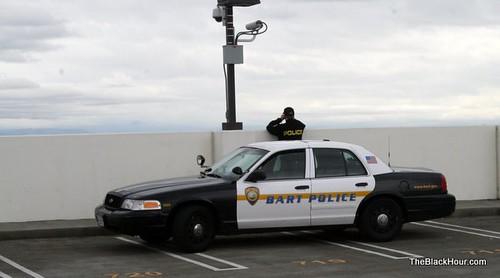 BART Police observing Oscar Grant vigil
