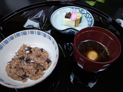Japanese tea-ceremony dishes, rice and miso soup