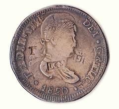1820 Ferdinand VII overstruck countermarked coin