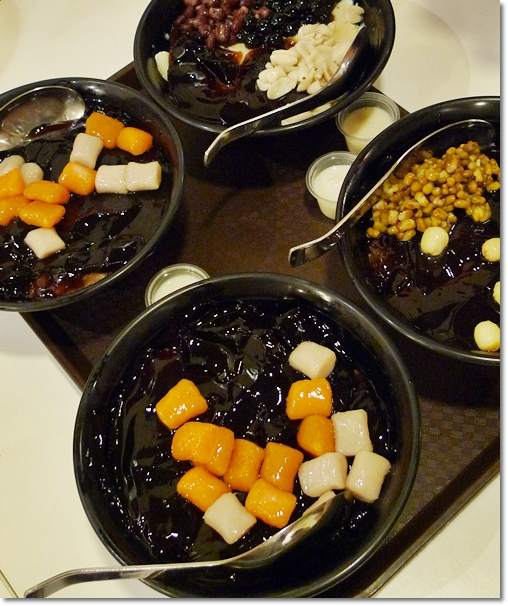Bowls of Smooth Grass Jelly with Condiments