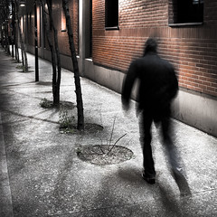 Running Away (Thibaut Lafaye) Tags: city shadow man motion paris wall night race square flow nacht perspective running run move ombre sombre brique format soir mur nuit homme mouvement trottoir carr hypothetical 500x500 traitement courrir circuler winner500