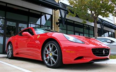 Ferrari California (agup627) Tags: ferrari california cali two door 22 hard top convertible low angle front side profile grill cavallino horse gt grantourer grandtourer grand gran tourer red rossocorsa rosso corsa v8 shield redcalipers calipers 20diamondpolishedwheels2010john eagle european john dealership dealer lot headlights austin texas tx worldcars