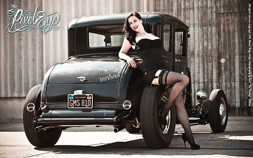 Katja Cintja & the Ford Model A Coupe Hot Rod - Widescreen Wallpaper