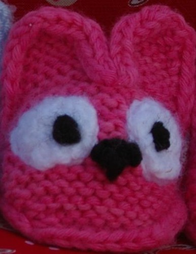screaming pink bootie with knit on eyes