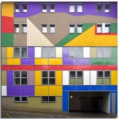The Harlequin facade (Nespyxel) Tags: vienna wien windows building facade sterreich colours pov perspective palazzo colori postproduction palast harlequin finestre geometrie facciata arlecchino geometries postproduzione