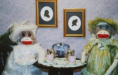 Victorian Sock Monkeys (monkeymoments) Tags: tea victorian silouette sockmonkeys monkeys teaparty hightea victoriantea victorianladies