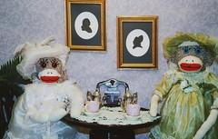 Victorian Sock Monkeys (monkeymoments) Tags: tea victorian silouette sockmonkeys monkeys teaparty hightea victoriantea victorianladies