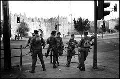 Israeli armed presence at Damascus gate (DanUneken) Tags: street soldier israel uniform palestine jerusalem rifle assault soldiers m4 armed damascusgate