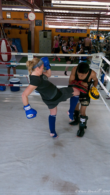 woman kickboxing in Thailand Muay Thai