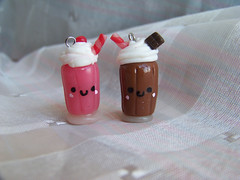 strawberry and chocolate milkshake (CuteTanpopo) Tags: cold cute strawberry handmade chocolate cream biscuit creation clay kawaii milkshake charms porcelain whipped polymer