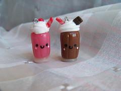 strawberry and chocolate milkshake (CuteTanpopo) Tags: cold cute strawberry handmade chocolate cream biscuit creation clay kawaii milkshake charms porcelain whipped polymer