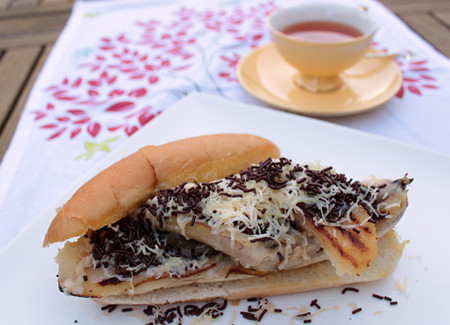 Grilled Banana on Hot Dog Bun (Pisang Bakar)