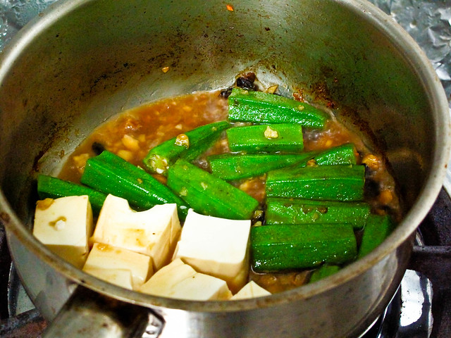 IMG_1182 One-pot dish : tofu and lady fingers