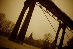 St. Johns Bridge iR Experiment (topherhulett) Tags: bridge bw usa rain oregon portland landscape ir lomo day or stjohns infrared conceptual stjohnsbridge gf1