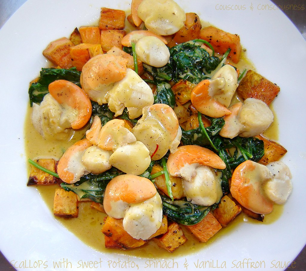 Scallops with Sweet Potato, Spinach & Vanilla Saffron Sauce 1