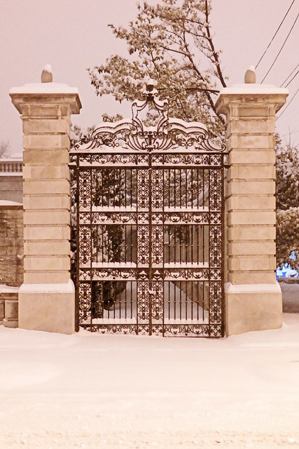 Ornate gate, in Saint Louis, Missouri, USA - view at night with snow