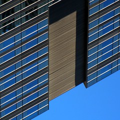 Optimus Prime (Lord Jezzer) Tags: blue windows shadow black building face lines architecture geometry stripes perspective optimusprime cerulean glower superaplus aplusphoto stky sorryformisleadingyou nottherealop atleastithinkitlooksabitlikeop