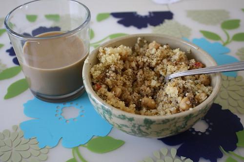 iced coffee, quinoa dish
