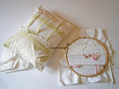 a pillow and a hoop (contemporary embroidery) Tags: silk pins pillow gingham cushion embroideryhoop bullionknots