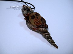 Gothic Skull & Rose (LynzCraftz) Tags: polymerclay resin swellegant steampunk handmade oneofakind jewelry necklace pendant