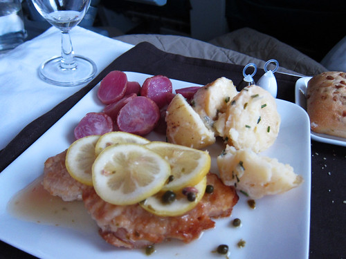 Sauteed chicken breast with lemon caper sauce, roasted red radishes ...