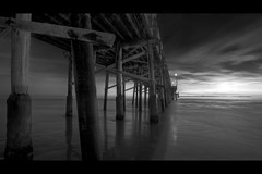 perspective (Eric 5D Mark III) Tags: ocean california longexposure sunset sky blackandwhite bw cloud seascape beach monochrome canon landscape pier twilight atmosphere wideangle newportbeach orangecounty tone reflecton ef1635mmf28liiusm eos5dmarkii