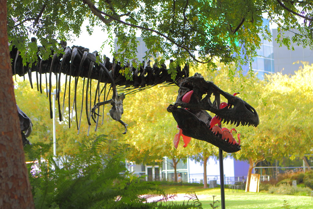 T-Rex eating plastic flamingos