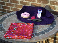 The tools and materials needed to create the lining (crochetbug13) Tags: purple crochet cascade220 fatbag samantasfatbag