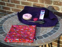 The tools and materials needed to create the lining (crochetbug13) Tags: purple crochet cascade220 fatbag samantasfatbag