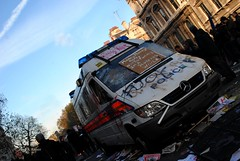 Police Van - the aftermath (Stationary Nomads) Tags: uk school people news david london college students youth demo fire riot student education media warm university nick rally crowd banner central protest trafalgarsquare police peaceful parliament anger highschool demonstration kettle parliamentsquare national cameron future penn learning government uni van colleges fe banners press riots liberal crowds whitehall placard journalist tory journalists shouting conservatives liberaldemocrats libdem clegg penned secondaryschool condem dayx 24november 24nov pennedin kettling demo2010 24november2010 fecolleges amenaamer