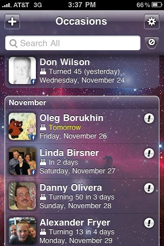Past and upcoming birthdays in Occasions for iOS