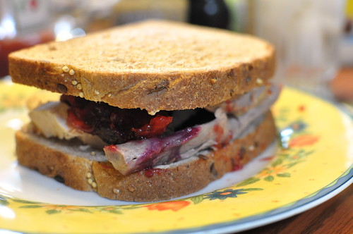 food turkey lunch cranberrysauce sandwich leftovers