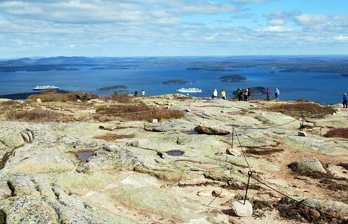 Summit of Cadillac Mountain looking towards Bar Harbor