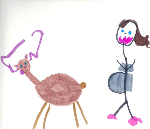 exactly what every pregnant lady dreams of, gallivanting with Rudolph. Drawing by Addie.