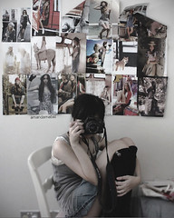 Day 2/365 ~ Surrounded by Art. (Amanda Mabel) Tags: pictures camera light 2 portrait white black slr girl fashion socks wall canon magazine hair asian grey high bedroom chair day top dream style teen thinking teenager denim ribbon shorts ponytail 365 dollhouse amandamabel