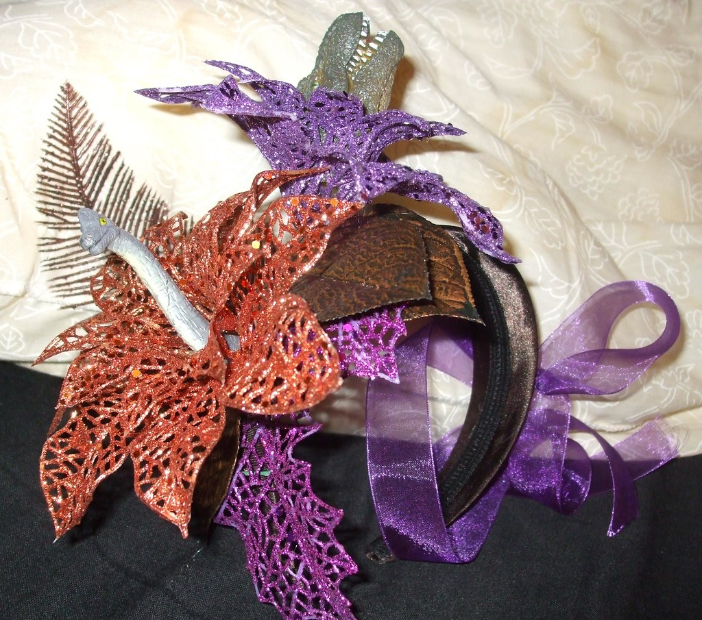 My homemade dinosaur wedding headband