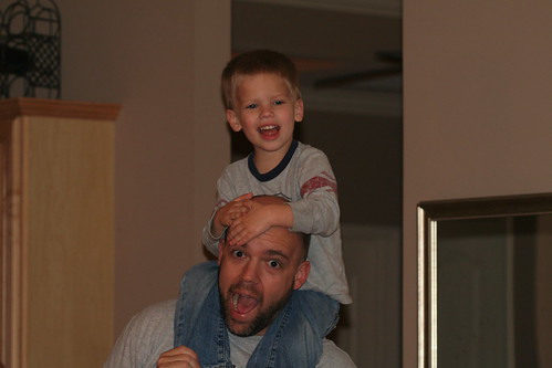 Eli Riding on Daddy's Shoulders