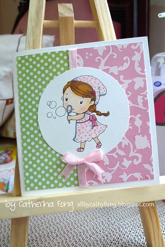 Pink bubble girl card