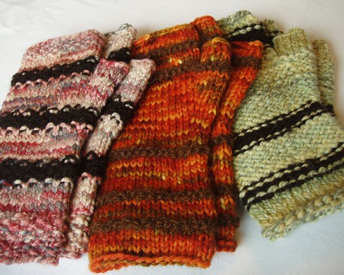 collection of fingerless mitts