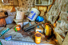 Deserted Home (Sheldon Shaw) Tags: vienna home glass radio paper football bucket sausage toilet can brush cooler shaw sheldon opener
