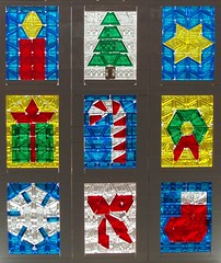 Christmas Window (eilonwy77) Tags: snowflake christmas tree window star candle lego mosaic stainedglass wreath gift ribbon stocking candycane cheeseslope 12410christmaswindow