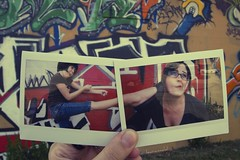 Kick to the Face (lauramidd :D) Tags: girls art wall kick converse polaroids allstars instax largefoot graffittijump jumpoholics jenniferravenandme wishihadnoticedtheglairbeforeileft
