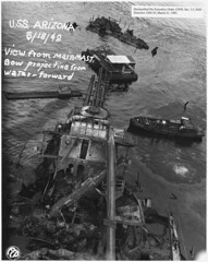 USS Arizona; View from main mast. Bow projecting from water- forward (FCP), 05/18/1942 (The U.S. National Archives) Tags: water death hawaii harbor war ship oahu destruction military pacificocean pearlharbor battleship usnavy usn warship ussarizona unitedstatesnavy ussarizonamemorial december71941 ussarizonabb39 bb39 pennsylvaniaclass usnationalarchives nara:arcid=296936