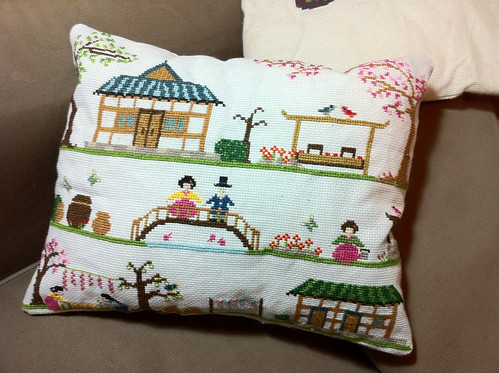 Traditional Korean Home cross stitch cushion